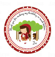 printable little red riding hood party favor tags