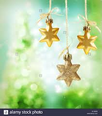 ornaments green tree lights background stock