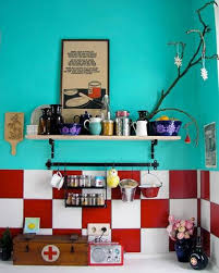 kitchen turquoise walls with white and red backsplash and open