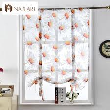 floral roman curtains short kitchen door panel tulle curtains