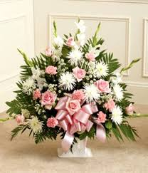 Traditional Funeral Flower - traditional pink and white funeral basket spray in elizabeth pa