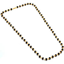 black necklace with crystal images Buy jewar mandi chain necklace one gram gold black crystal mala jpg
