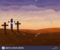 religious easter card with the three crosses on golgotha hill