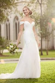 Off The Shoulder Wedding Dresses Silk Organza Natural Waist A Line Gown With Side Box Pleats And