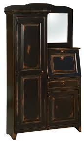 pine secretary desk with side cabinet door