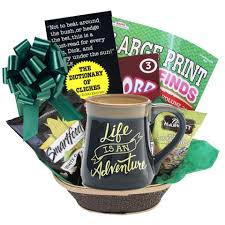 mens gift baskets is an adventure gift basket with paperback book choice for