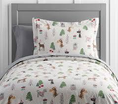Dog Duvet Covers Holiday Dog Flannel Duvet Cover Pottery Barn Kids