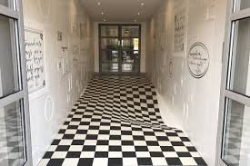 tile design uses optical illusion to slow people down curbed
