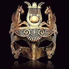 gold masculine soldier men venetian metallic mask for