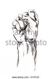 fist drawing pencil sketch on paper color effect stock photo