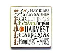 fall harvest wooden sign autumn decor typography sign fall