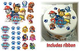 Paw Patrol Cake Decorations Precut Icing Paw Patrol Cake Decoration Set Ribbon Easy Peel