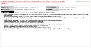 sheltered workshop executive director job title docs