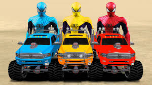 monster truck jam videos spiderman colors u0026 monster trucks colors nursery rhymes songs