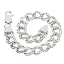 sterling charm bracelet chain images 9mm wide sterling silver 8 quot double link chain charm jpg