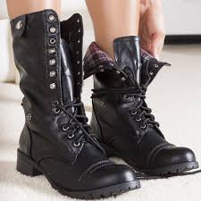 womens black combat boots size 9 army chic distressed lace up fold combat mid calf boots black