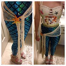 mermaid halloween costume for adults mermaid halloween costume leggings net bustier add shells