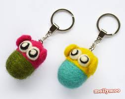 mollymoocrafts needle felted keyrings craft tutorial
