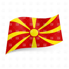 Big Red Flag National Flag Of Macedonia Yellow Sun On Red Background Royalty