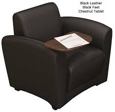 aspire leather lounge series mobile lounge chair with tablet arm