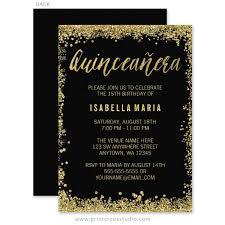 quinceanera invitations black gold faux glitter quinceanera 15th birthday invitations