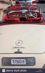 convertible mercedes red cream with red leather interior mercedes 190sl classic car stock