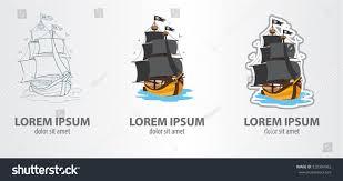 logos pirate ship contour logo stroke stock vector 320304962