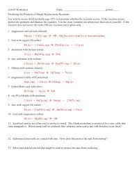 double displacement reactions worksheet worksheets