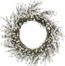 front door wreath artificial white dianthus flowers for fall on a