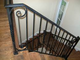 Indoor Handrails For Stairs Contemporary Wrought Iron Stair Railings With Wood Steps Interior Iron Stair