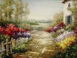 garden landscape oil painting garden scenery oil painting japanese
