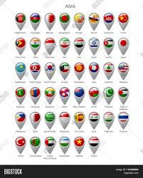 Countries Of Asia Map by Map Marker Set With State Flags Of Sovereign Countries Of Asia