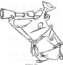 vector of a cartoon sailor using a telescope coloring page