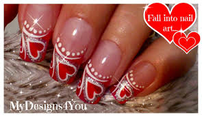 valentine s day nails red heart nail art дизайн ногтей на