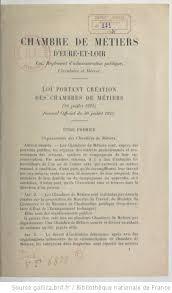 chambre des metiers eure et loir loi portant création des chambres des métiers 26 juillet 1925