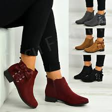 ankle boots uk ebay womens side bow zip ankle boots low heel casual shoes