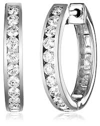 gold diamond hoop earrings 14k white gold channel set diamond hoop earrings 1