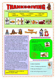 thanksgiving history vocabulary worksheet free esl