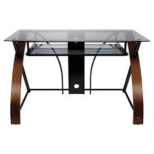 Studio Rta Glass Desk by Bello Curved Glass Top Computer Desk Vibrant Espresso Hayneedle