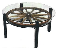Wagon Wheel Coffee Table by Morris Hill Metal Crafts Furniture