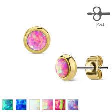 surgical steel stud earrings pair of gold ip 316l surgical steel stud earrings w opal