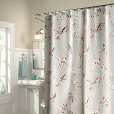 Grey Bathroom Curtains Light Grey Bird Polyester Waterproof Shower Curtains