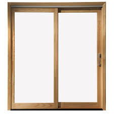 Patio Doors Wooden Shop Pella 71 25 In X 79 5 In Clear Glass Left White Wood