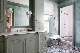 Dark Gray Bathroom Vanity by Gray Washstand With Dark Gray Herringbone Floor Tiles