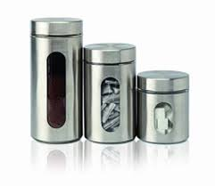 kitchen canisters stainless steel set of 3 stainless steel canisters with lids and glass window