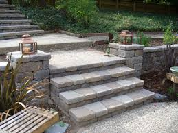 Backyard Steps Ideas Fascinating Entrance Idea Presented With Classic Retaining Wall