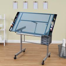 Glass Top Drafting Drawing Table Studio Designs Vision Craft Station With Glass Top Plus Rolling