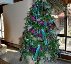 fancy christmas tree ornaments with blue purple colors mesh