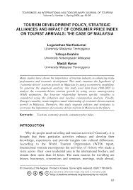 tourism development policy strategic alliances and impact of