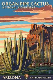 Arizona Travel Posters images Organ pipe cactus national monument arizona 9x12 art jpg